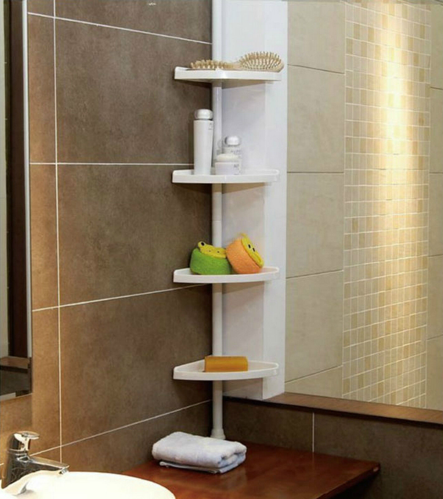 WHITE 4 Tier Adjustable Telescopic Corner Shower Bathroom