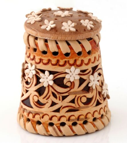 Birch Bark Wooden Thimble Handmade Floral Pattern Rare Russian Collectible