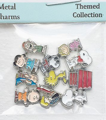 Large Peanuts Themed 11pc Floating Charm Set Snoopy Living Owl Memory Locket