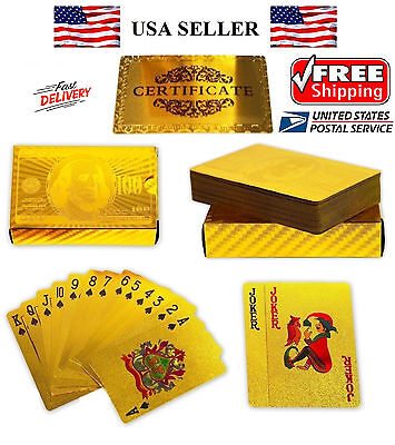 Plated Playing Card - NEW Certified 24K GOLD Foil plated POKER PLAYING CARDS Deck Collection US Dollar