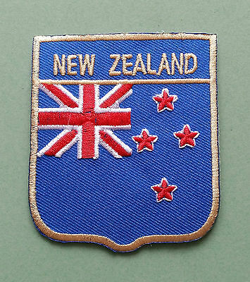 NATIONAL FLAG COUNTRY SHIELD SEW ON / IRON ON EMBROIDERED PATCH:- NEW ZEALAND