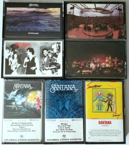 SANTANA 7 TAPE CASSETTE LOT VIVA MOONFLOWER CARLOS PSYCH PROG GUITAR ROCK ALBUM