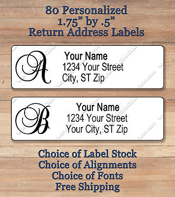 80 Personalized Elegant Monogram Return Address Labels 1 34 X 12  Script 1