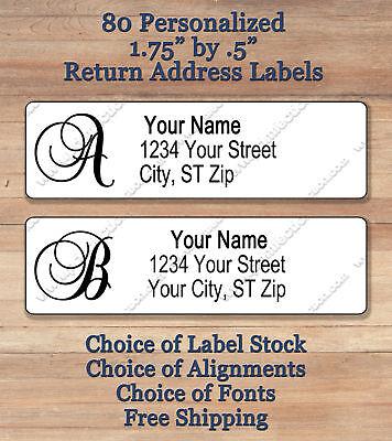 80 Personalized Elegant Monogram Return Address Labels 1 3/4
