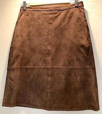 Axcess Liz Claiborne Women's A-line Skirt Sz 6 Brown Suede Leather Lined Vintage
