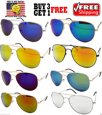 WIRE METAL FRAME COLOR REFLECTIVE MIRROR LENS AVIATOR SUNGLASSES SHADES (Reflective Shades)