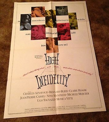 HIGH INFIDELITY Claire Bloom Charles Aznavour 1966 1 ONE SHEET MOVIE POSTER