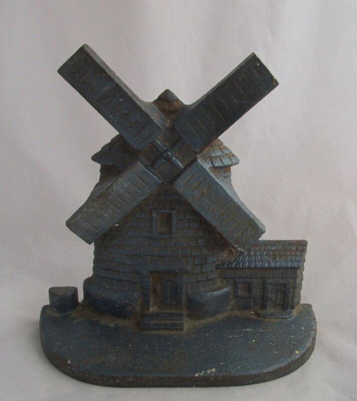 Antique Cast Iron Original Blue Paint Windmill House Figural Door Stop