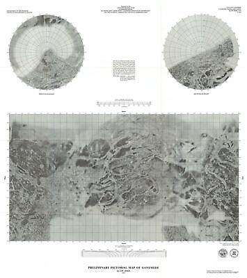 1979 U.S. Geological Survey Pictorial Map of Ganymede, Largest Moon of Jupiter
