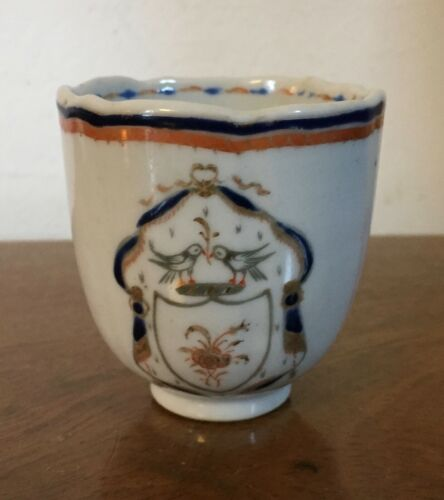 Antique Chinese Export Porcelain Tea Cup Famille Rose 1780 18th c. Armorial Dove