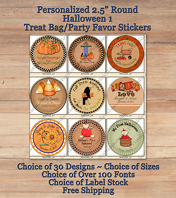 "12 Cute Personalized HALLOWEEN FALL 1 ROUND 2.5"" Treat Bag Stickers Pumpkins"