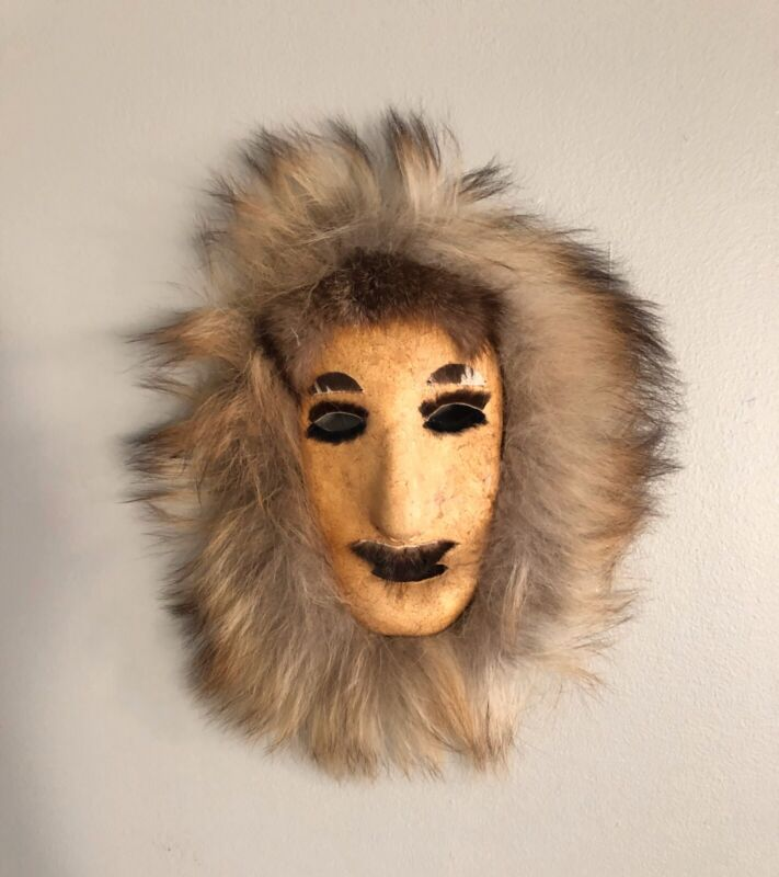 "Antique/Vintage Authentic  Hide And Fur Mask ""SHAMANIC""."