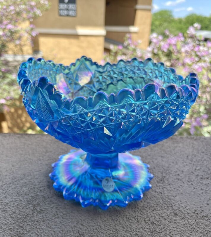 FENTON BLUE CARNIVAL GLASS COMPOTE FOOTED BOWL CANDY DISH STARBURST PINWHEEL