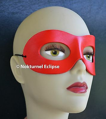 Halloween Geek Costume (Red Harley Quinn Leather Mask Masquerade Halloween Geek Superhero Costume)