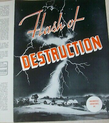 Underwriters Laboratories Inc.  Flash of Destruction Lightning Rod Ad Brochure