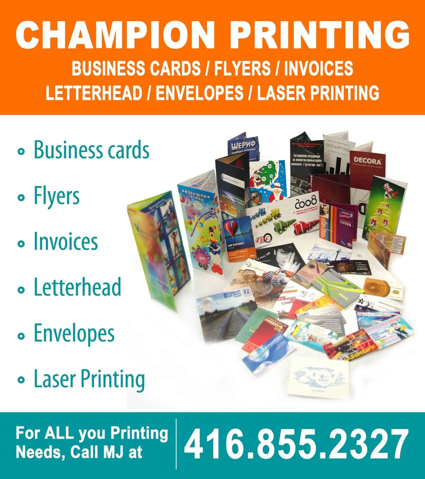 Business cards, brochures, flyers & more. Call 416.855.2327 | Other ...