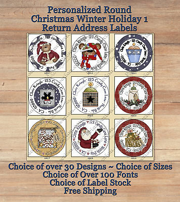 Personalized Round Holiday Christmas Winter 1 Return Address Labels Seals