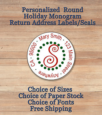 Personalized Round Holiday Christmas Monogram Return Address Labels Seals