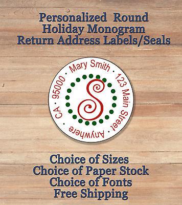 Personalized Round Holiday Christmas Monogram Return Address Labels Seals
