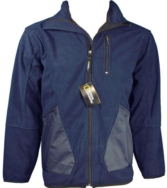New National Geographic Mens Full-Zip Wind-Blocking Navy Fleece Jacket XL