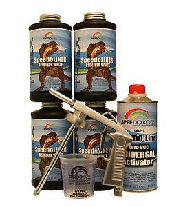 T-Rex White spray-on truck Bed Liner kit, SMR-1000W-K4 Truck Bedliner w/Free Gun