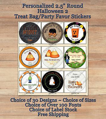 "12 Cute Personalized HALLOWEEN FALL 2 ROUND 2.5"" Treat Bag Stickers Candy Corn"