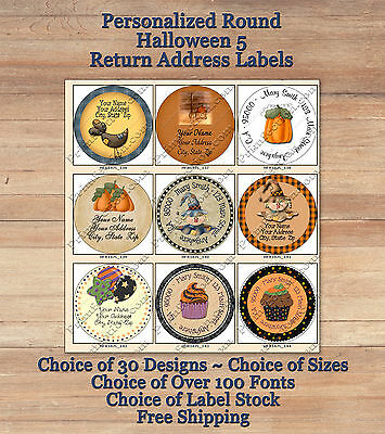 Colourful Cute Personalized HALLOWEEN FALL ROUND Address Labels 5 Cupcakes