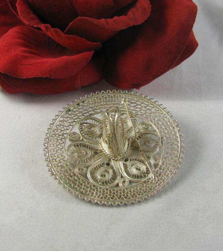 Sterling Silver Ornate Open Work Hat Pin Brooch FERAL  CAT RESCUE