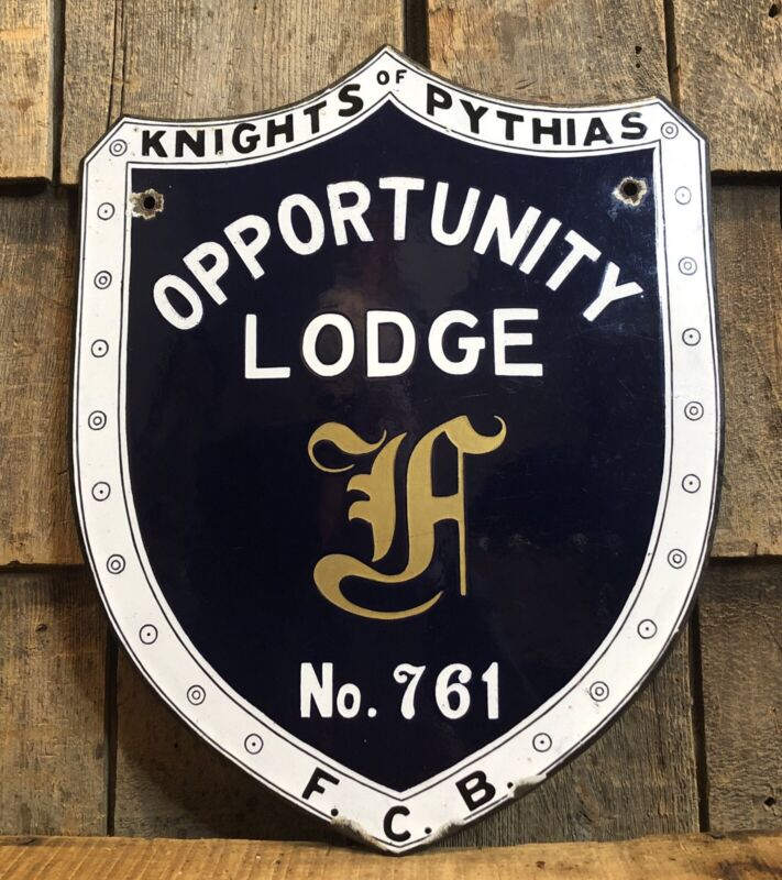 RARE Antique KNIGHTS of PYTHIAS Masonic Fraternal Shield LODGE Porcelain Sign