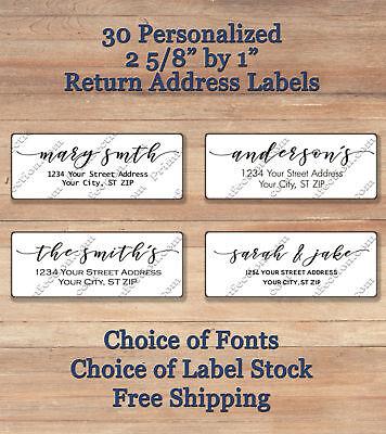 30 Personalized Printed Peel Stick Elegant Script Return Address Labels