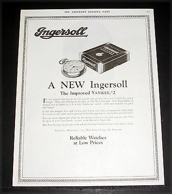 1924 OLD MAGAZINE PRINT AD, A NEW INGERSOLL YANKEE $2 POCKET WATCH, IMPROVED!