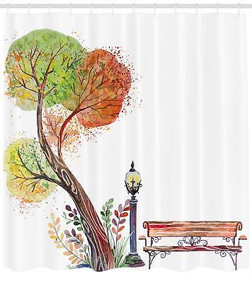 Park Bench Pattern Shower Curtain Fabric Decor Set with Hook
