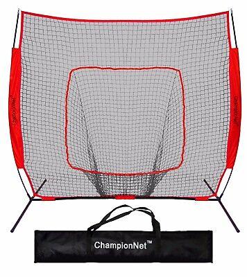 ChampionNet 7'x7' Baseball/Softball Training Hitting Net & Frame - RED