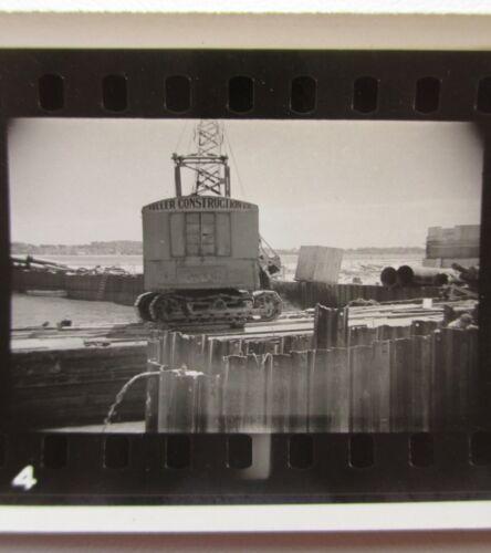 Vintage Bridge Construction Crane Work Barge Workmen Super XX Photo Proof Strip