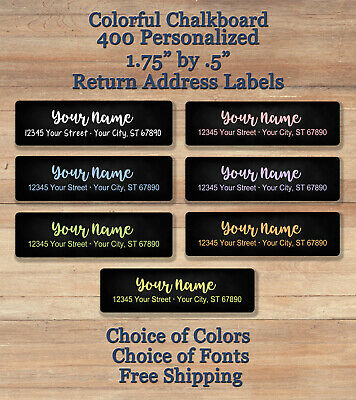 400 Personalized Printed Peel Stick Colorful Chalkboard Return Address Labels