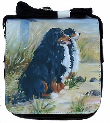 BERNESE MOUNTAIN DOG SHOULDER BAG SATIN FEEL FABRIC SANDRA COEN ARTIST PRINT