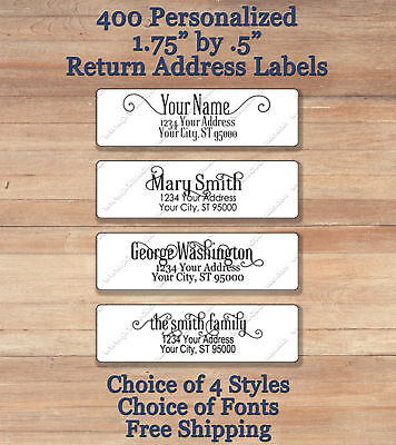 400 Personalized Printed Peel Stick Return Address Labels Elegant Script 2