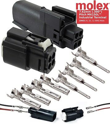 Molex 4 Pin Connector 12-10 AWG, 30 Amp, W/ CPA Waterproof, Sealed Kit, MX150L™ 16 Pin Molex Connector