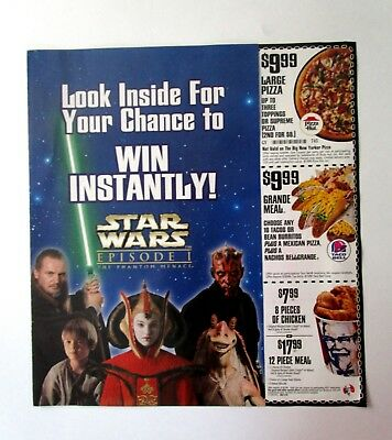 1999 Star Wars Episode 1 Phantom Menace Pizza Hut Kfc Taco Bell Coupon Promo