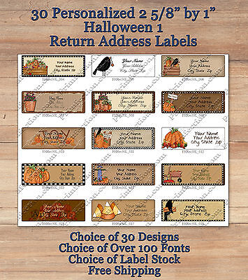 Colourful Whimsical 30 Custom HALLOWEEN 1 FALL Address Labels Pumpkins Crow Baby ()