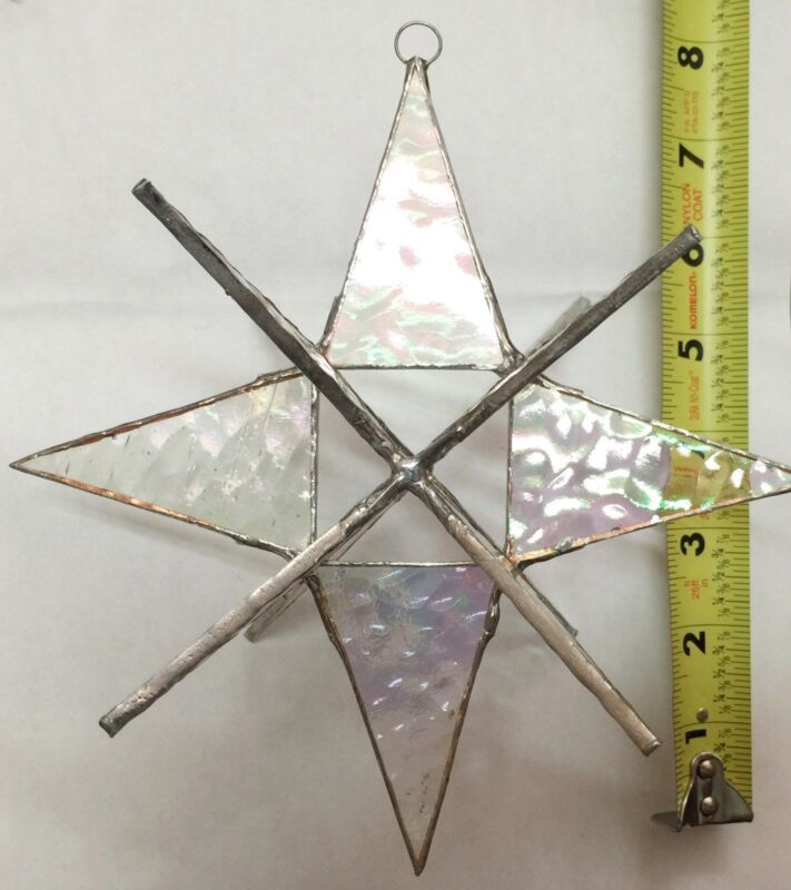 LARGE 7 INCH MORAVIAN STAINED GLASS CLEAR  STAR - HANDMADE SUNCATCHER !!!!!