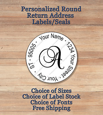 Personalized Round Monogram Return Address Labels Seals Script 1