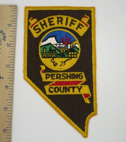PERSHING COUNTY NEVADA SHERIFF PATCH on Brown Cut Edge Vintage Original