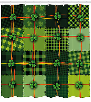 Irish Pattern Shower Curtain Fabric Decor Set with Hooks 4 S