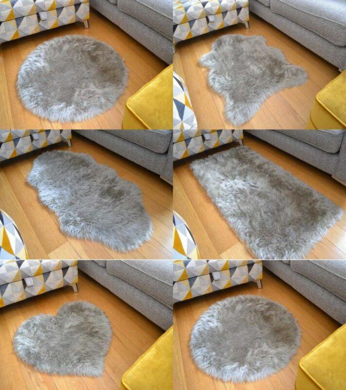Silver Grey Shaggy Rugs Non Slip Mats Bedroom Fluffy Soft Fa