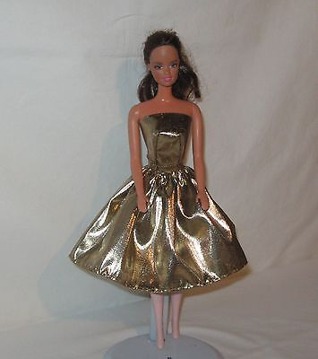 Handmade SHORT Gold and Black  Lame Barbie Dress