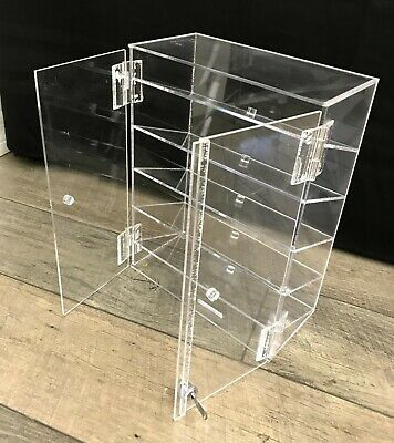 5 Shelf Countertop Acrylic Locking Display Showcase Fixed Shelves New In Box
