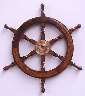 Deko Steuerruder Steuerrad Schiff Holz Maritim 62 cm