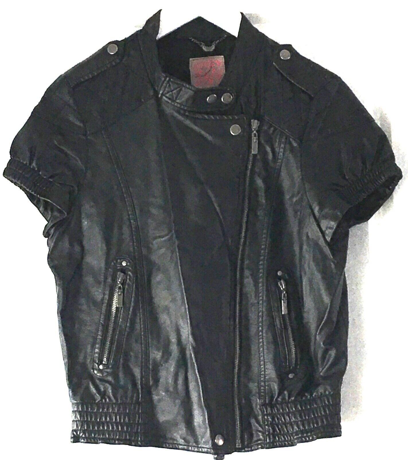 Veste blouson style perfecto manches courtes simili cuir noir rock biker 38