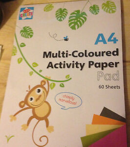 A4 Kids Create Multi colored activity Paper Pad Art Crafts 60 sheets per pad